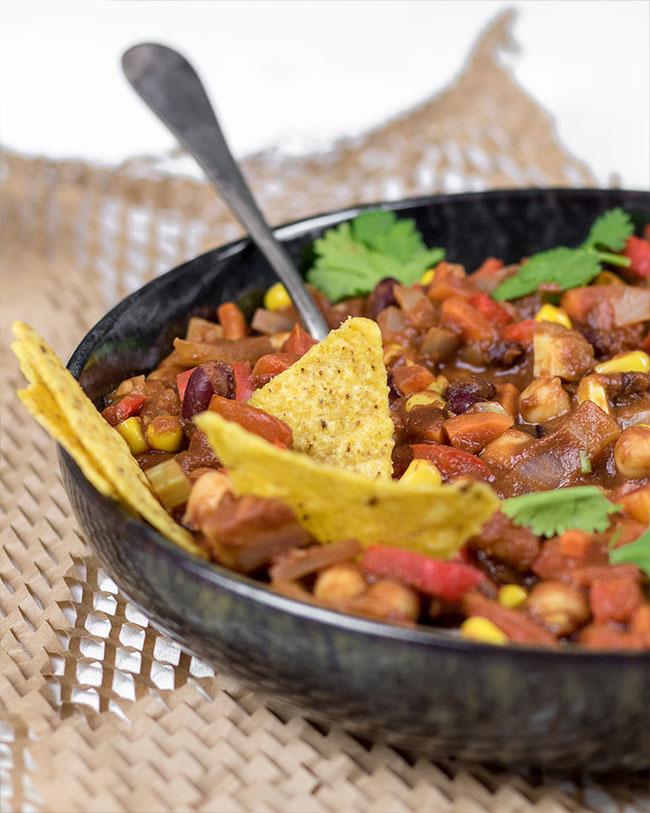 Vegan chili sin carne met chocolade